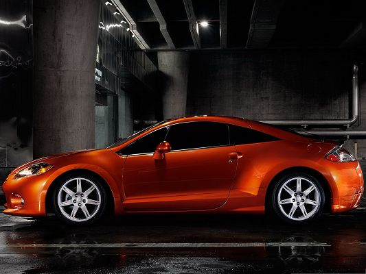 click to free download the wallpaper--Top Cars as Wallpaper, Orange Car in Stop, Smooth and Impressive Body Line