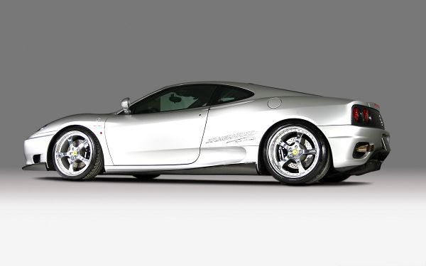 click to free download the wallpaper--Top Cars as Wallpaper, Silver Ferrari Sport Car on White Background, Nice Look