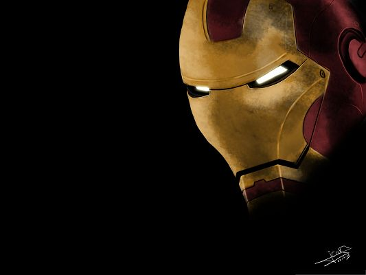 click to free download the wallpaper--Top Films Poster, Iron Man with Shinning Eyes, Dark Background