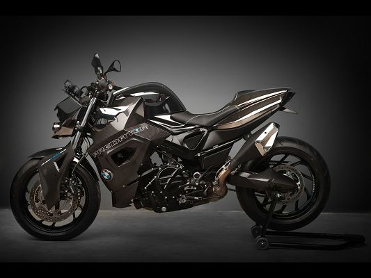 click to free download the wallpaper--Top Gear Post of BMW F800 R Predator, in Stop, Black and Lighted Up Background, It Shall be a Fit