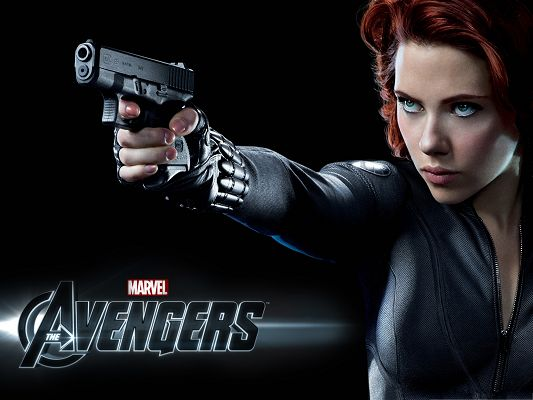 click to free download the wallpaper--Top Movie Poster, Scarlett Johansson in Avengers, Holding a Gun