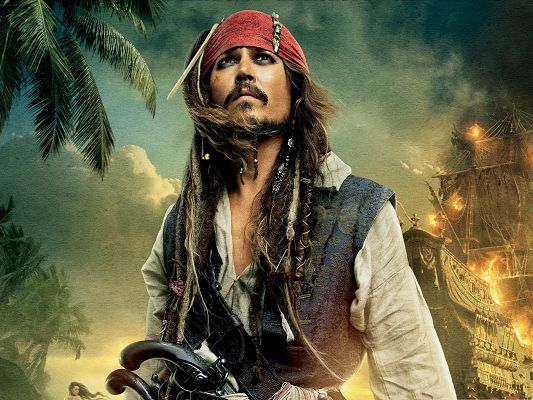 click to free download the wallpaper--Top Movie Posters, Pirates Of The Caribbean, Johnny Depp in Front of Firing Ship