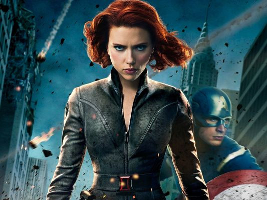 click to free download the wallpaper--Top Movie Posters, Scarlett Johansson as Black Widow, Flying Black Pieces
