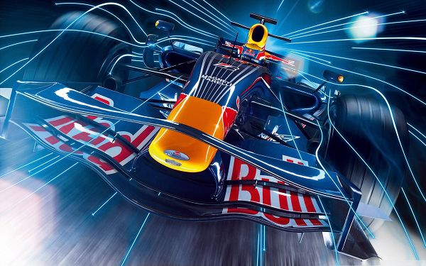 click to free download the wallpaper--Top Race Cars, Formula 1 Car in Pretty Full Speed, Straight Blue Lines