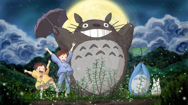 click to free download the wallpaper--Totoro and His Friends Happy Together, All Laughing and Jumping, That's the Attitude, Just Cheer up! - HD Cartoon Wallpaper