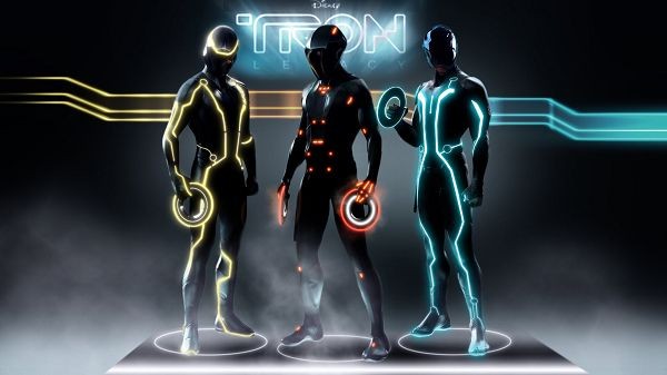 click to free download the wallpaper--Tron Legacy Characters Post in 1920x1080 Pixel, All Men in Colorful Circles, Lights Are Turned on, Stay Away from Them - TV & Movies Post