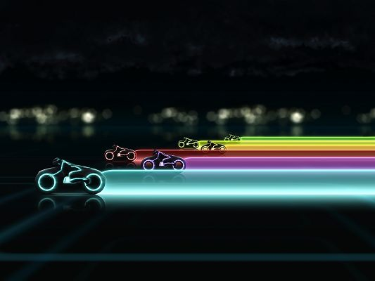 Tron Legacy Lightcycle Race Post in 1600x1200 Pixel, All Motorcars Generating Colorful Lights, Who Will Win? - TV & Movies Post