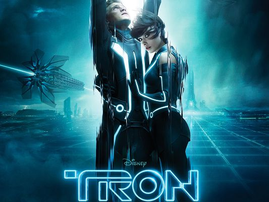 click to free download the wallpaper--Tron Legacy Post 2010 in 1920x1440 Pixel, Bodies Stretched Long, the Two Are Embracing Each Other, Unwilling to Depart - TV & Movies Post