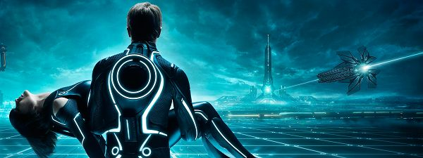 click to free download the wallpaper--Tron Legacy Tripple Monitor in 3200x1200 Pixel, Man Holding His Girl, Must Have Been Terribly Hurt, Someone is Dead This Time - TV & Movies Post