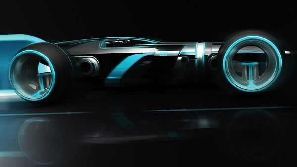 click to free download the wallpaper--Tron Super Lightcycle HD Post in Pixel of 1600x900, Car Generating Blue Light, Black Background, They Are Quite a Combination - TV & Movies Post