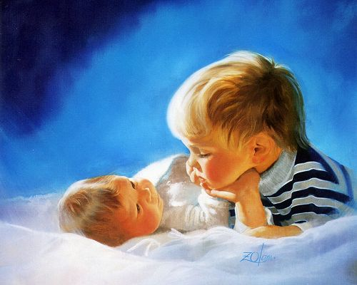 Two Baby Boys Talking and Staring, the Older One Works as Caretaker, Must be Well-Appreciated - Childhood Painting Wallpaper