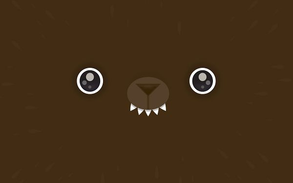 Two Eyes and One Mouth on Brown Background, Is Absolutely a Bear, Eyesight Reveals Him a Cute and Curious One - Creative Wallpaper