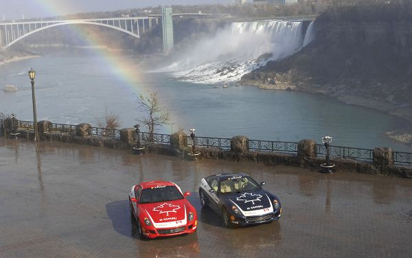 Two Ferrari Cars Stopping on a Flat, Rain is Gone, Rainbow Has Shown up, Just Enjoy the Beautiful Car and Amazing Scene - HD Cars Wallpaper