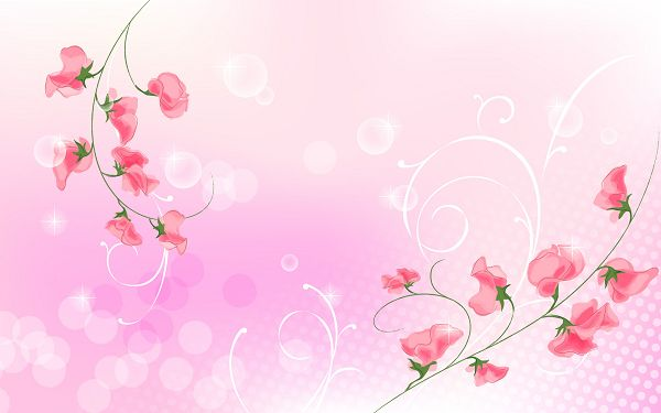 Two Red Branches of Flower and Light Pink Background, a Great Fit for Each Other - Cartoon Flowers Wallpaper