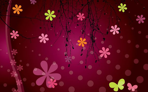 click to free download the wallpaper--Vector Flowers Background, Dancing Flowers on Pink Background, Free Falling