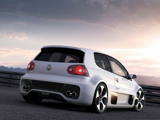 click to free download the wallpaper--Volkswagen GTI Car Wallpaper, White and Decent Car About to Turn a Corner