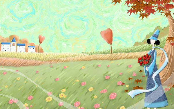 Waiting in a Bouquet of Flower, Long Scarf Flying with Wind, When Is the Mr.Right Showing up? - Autumn Fairytale Wallpaper