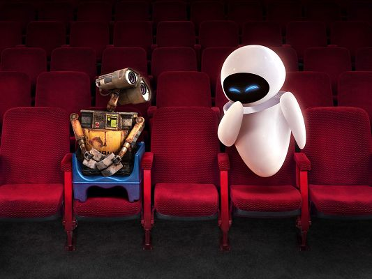 click to free download the wallpaper--Wall E and EVE in Theater Post in 1600x1200 Pixel, EVE is Smiling, Robots As the Two Are, You Bet There is Love Between Them - TV & Movies Post