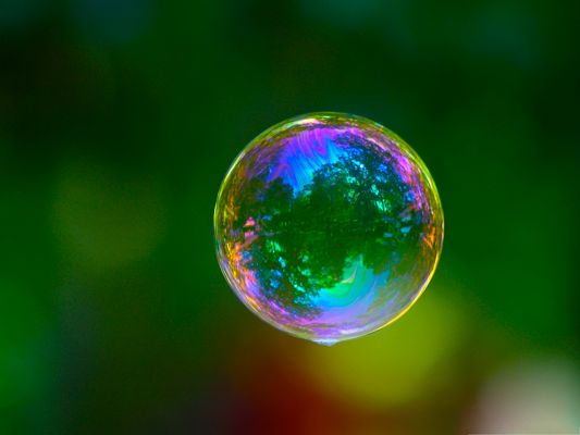 click to free download the wallpaper--Wallpaper Computer Background, Colorful Bubble on Green Setting, Fly with It!