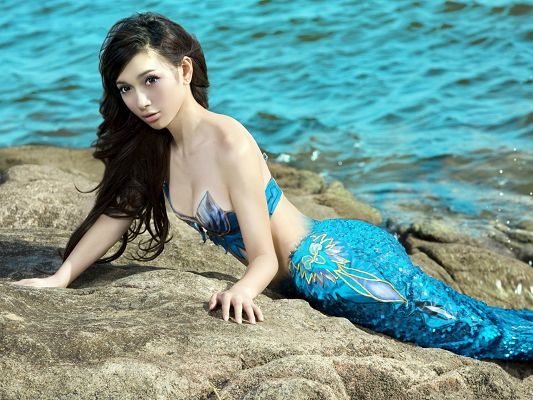 Wallpaper Computer Background, Leah Dizon Mermaid, Astonishing Beauty