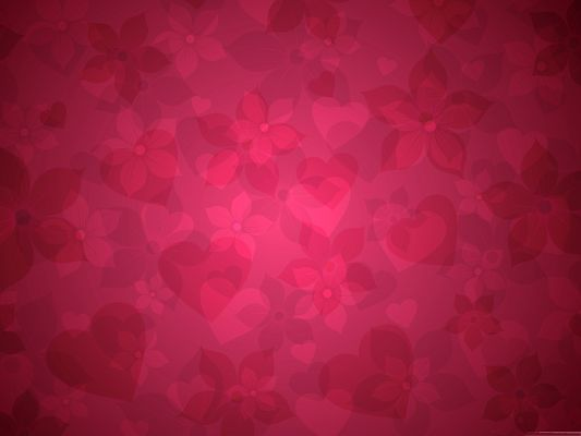 Wallpaper Computer Background, Red Floral Pattern, Some in Heart Shape