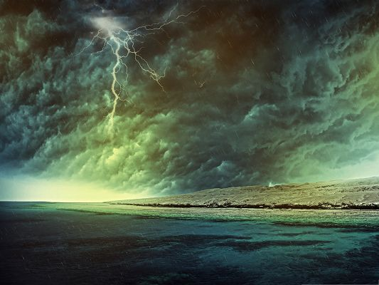 click to free download the wallpaper--Wallpaper Computer Background, Sea Storm Bursting Out, Breaking Thick Clouds