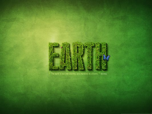 click to free download the wallpaper--Wallpaper Desktop Computer - Green Grass Text Effect, Encouraging Man to Protect the EARTH!