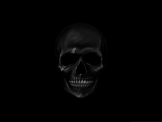 click to free download the wallpaper--Wallpaper Free Computer, Black Skull in Wide Open Smile, Are You Scared?