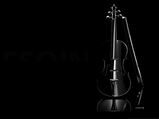 click to free download the wallpaper--Wallpaper Free Computer, Black Violin on Dark Background, Great Musical Instrument