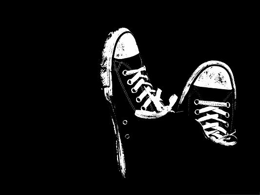 click to free download the wallpaper--Wallpaper Free Computer, Black and White Sneakers, New Yet Dirty, What Have You Been Through?
