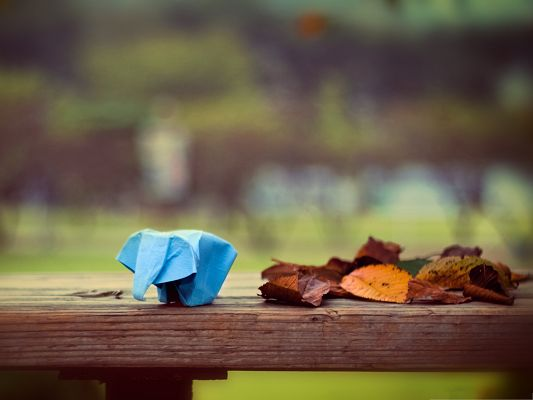 click to free download the wallpaper--Wallpaper Free Computer, Elephant Origami Standing Beside Brown Fallen Leaves