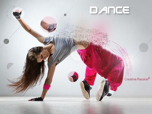 click to free download the wallpaper--Wallpaper Free Computer, Hip-Hop Girl in Dance, Beautiful Moves and Pose