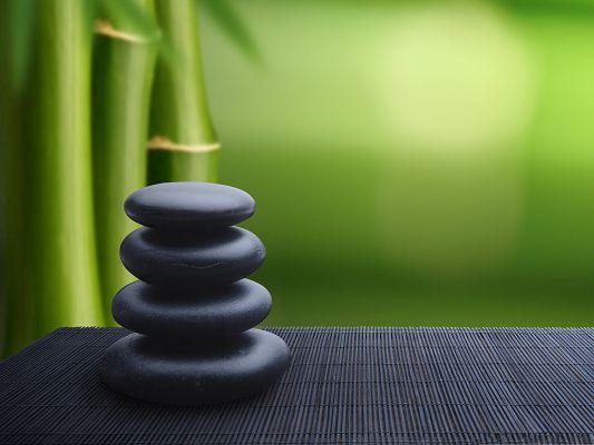 click to free download the wallpaper--Wallpaper Free Computer, Zen Stones Background, Bamboos as Decoration