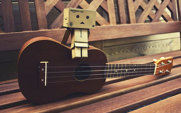 click to free download the wallpaper--Wallpaper for Computer, Danbo Sitting on Guitar, Are You a Great Player?