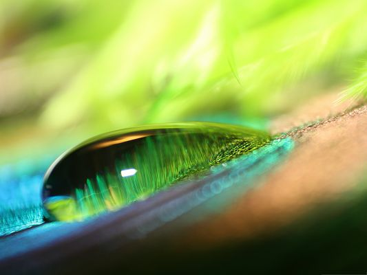 click to free download the wallpaper--Wallpaper for Computer, Green Water Drop Bokeh, Gain Freshness and Clearness