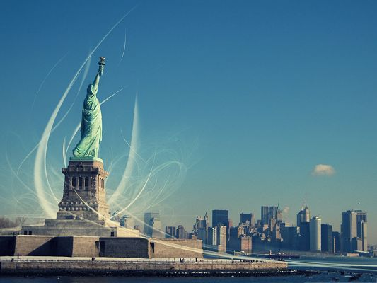click to free download the wallpaper--Wallpaper for Computer, Statue Of Liberty, Fit for Any Digital Device!