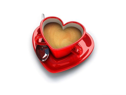 Wallpaper for Desktop Computer, Coffee Cup in Heart Shape, Full of Love