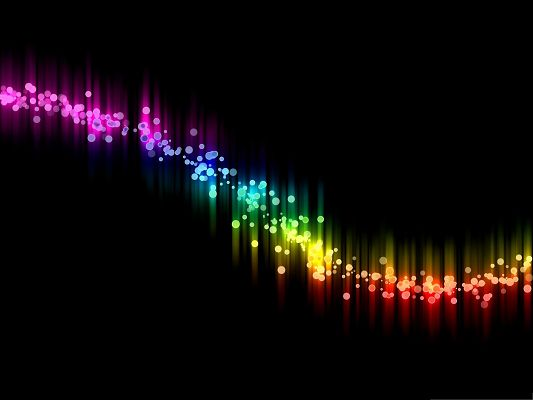 Wallpaper for Desktop Computer, Rainbow Wavy Lines on Black Background