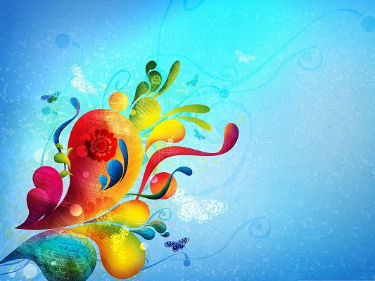 click to free download the wallpaper--Wallpaper for Widescreen, Abstract Corner, Colorful and Bright Flower