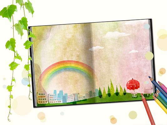 click to free download the wallpaper--Wallpaper for Widescreen - Colorful Crayons, Rainbow in the Book