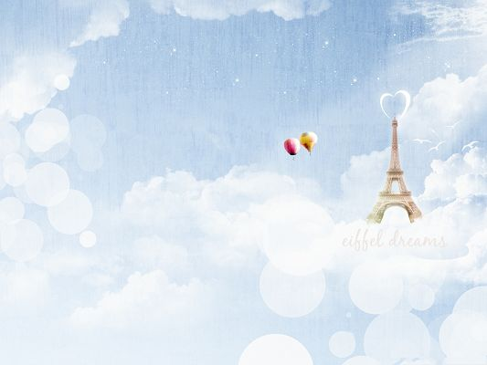 click to free download the wallpaper--Wallpaper for Widescreen, Eiffel Dreams, Two Balloons Flying Toward It