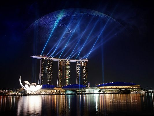click to free download the wallpaper--Wallpaper for Widescreen, Marina Bay Sands in Singapore, Night Scene
