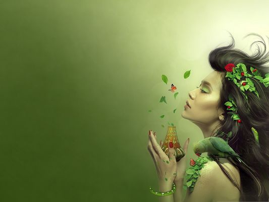 click to free download the wallpaper--Wallpaper for the Computer, Beautiful Lady in Green, She Has the Smell Of Summer