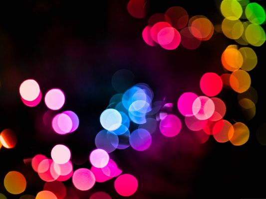 click to free download the wallpaper--Wallpaper for the Computer, Colorful Rain Bokeh, Dark Background
