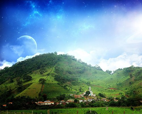Wallpaper for the Computer, Green Tall Hills Under the Blue Sky, Fantasy Nature Landscape