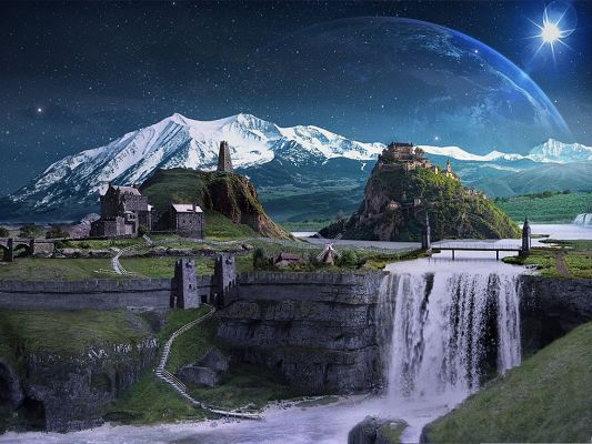 click to free download the wallpaper--Wallpaper for the Computer, Star Land Under Moonlight, Nature Fairyland