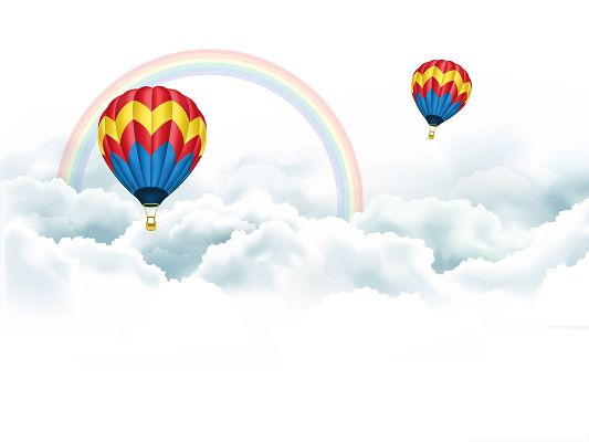click to free download the wallpaper--Wallpapers and Backgrounds Download, Hot Air Balloon, Won't Be Far from the Rainbow