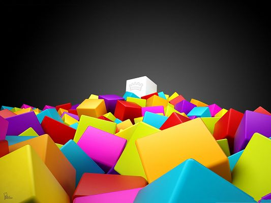 click to free download the wallpaper--Wallpapers for Computer Free, Colorful Cubes Piled Up, Great Color Combination