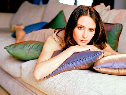 Wallpapers of Beautiful Actresses, Amy Acker Lying on Sofa, Attentive Eyesight, Incredible Beauty