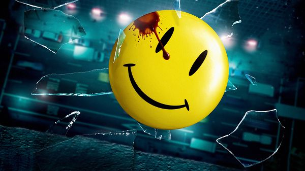click to free download the wallpaper--Watchmen Smiley in 1920x1080 Pixel, Glass is Made Broken with His Head, Still Smiling, the Guy is Great and Positive - TV & Movies Wallpaper